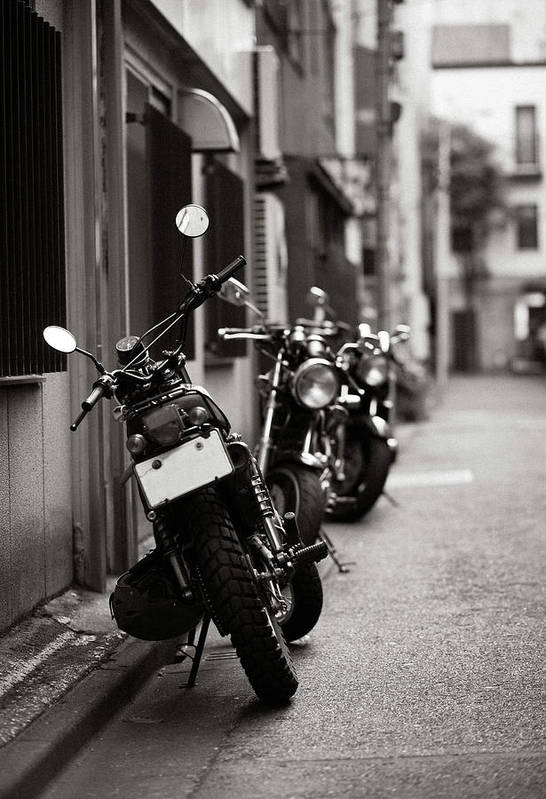 Vertical Poster featuring the photograph Motorbikes Parked On Street In Tokyo, Japan by photo by Jason Weddington