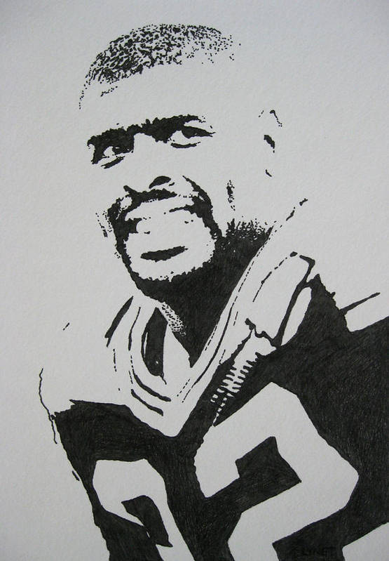 Reggie White Poster featuring the drawing Reggie by Lynet McDonald