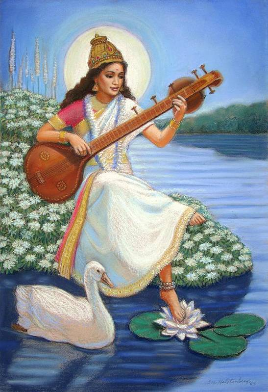 Hindu Goddess Poster featuring the painting Sarasvati by Sue Halstenberg