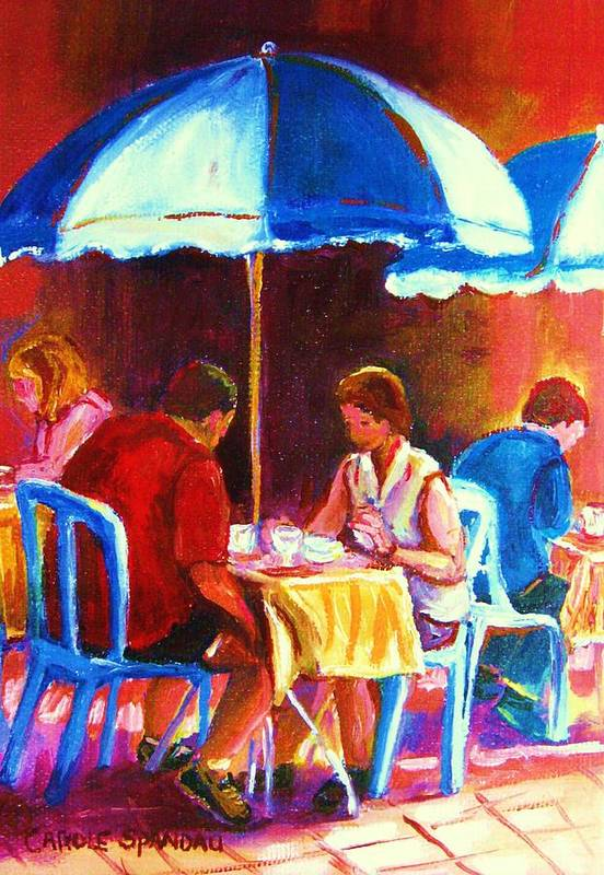 St. Denis Outdoor Cafe Montreal Street Scenes Poster featuring the painting Tea For Two by Carole Spandau