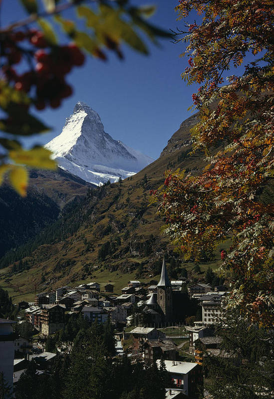 Europe Poster featuring the photograph Zermatt Village With The Matterhorn by Thomas J. Abercrombie