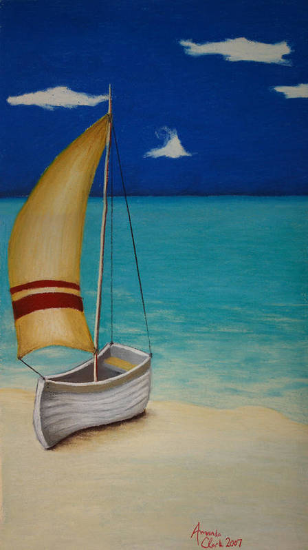 Boat Poster featuring the pastel Sailors Solitude by Amanda Clark