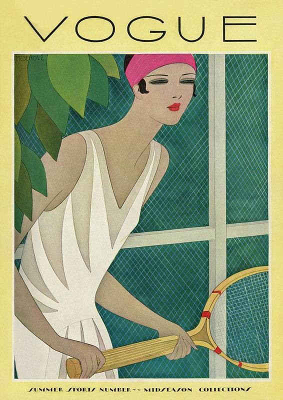 Illustration Poster featuring the photograph A Vintage Vogue Magazine Cover Of A Woman by Harriet Meserole