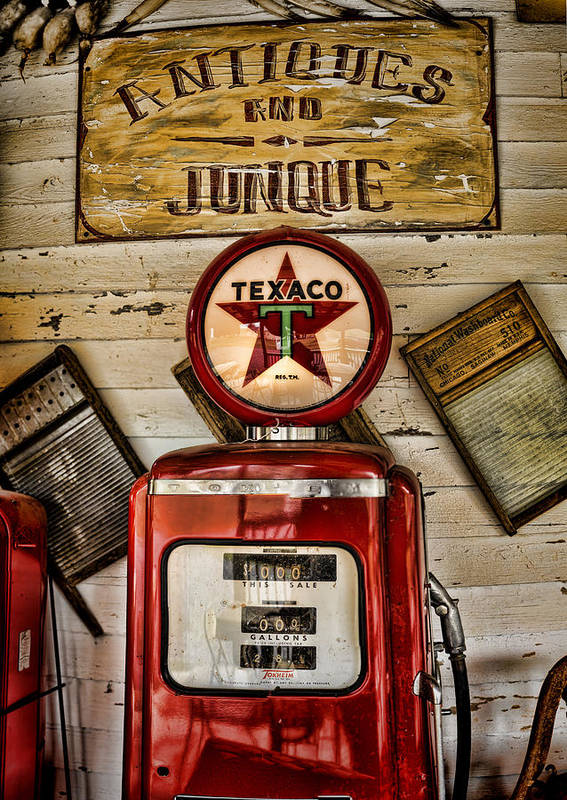 Gas Pump Poster featuring the photograph Antiques And Junque by Heather Applegate
