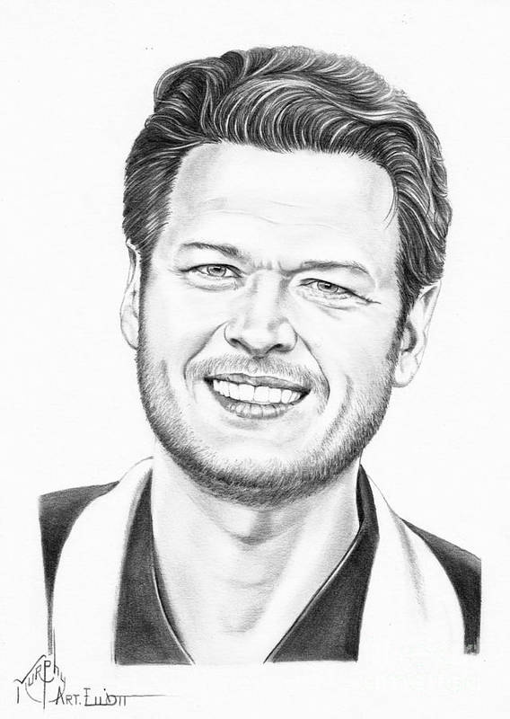 Pencil Poster featuring the drawing Blake Shelton by Murphy Elliott
