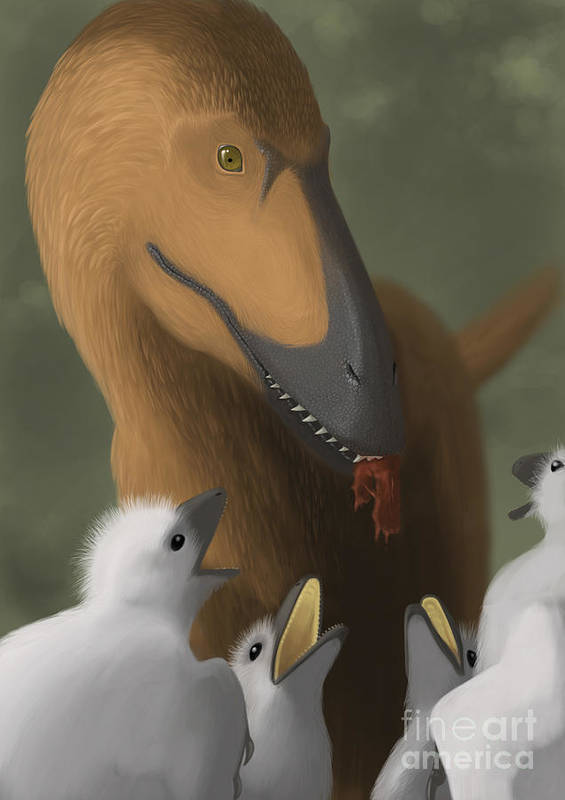 Vertical Poster featuring the digital art Deinonychus Dinosaur Feeding Its Young by Michele Dessi