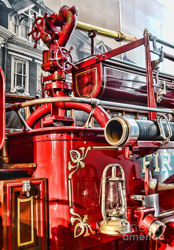 Paul Ward Poster featuring the photograph Fireman - Antique Brass Fire Hose by Paul Ward