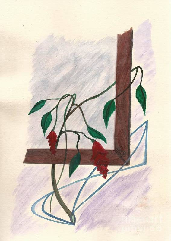 Watercolor Poster featuring the painting Flowers In The Window by Robert Meszaros