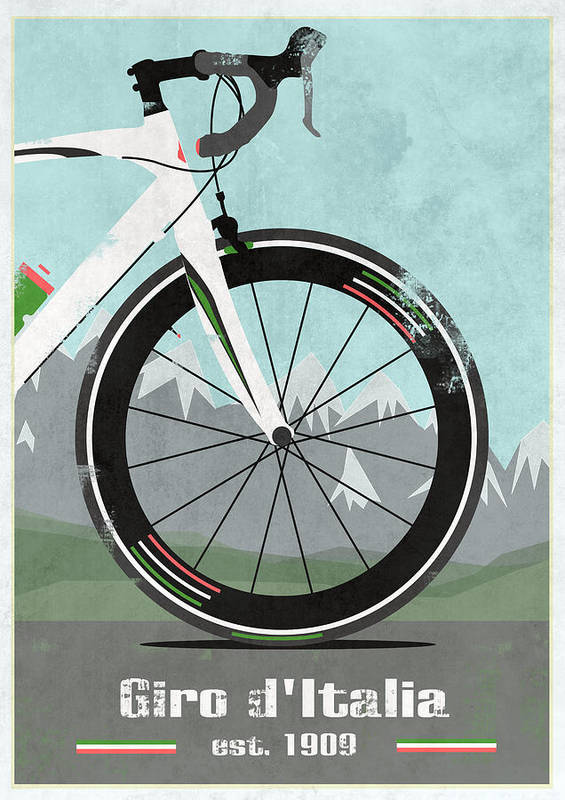 France Poster featuring the mixed media Giro D'italia Bike by Andy Scullion