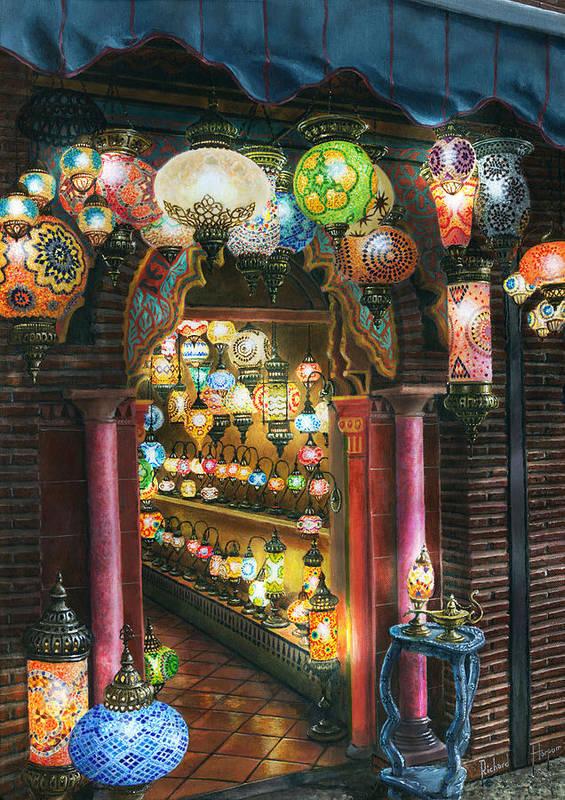 Landscape Poster featuring the painting La Lamparareia En La Noche Albacin Granada by Richard Harpum