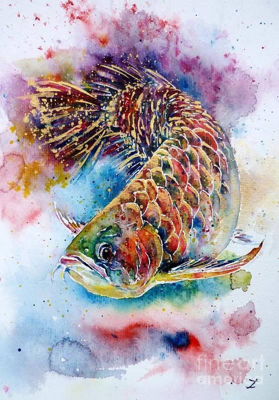 Arowana Poster featuring the painting Magic Of Arowana by Zaira Dzhaubaeva