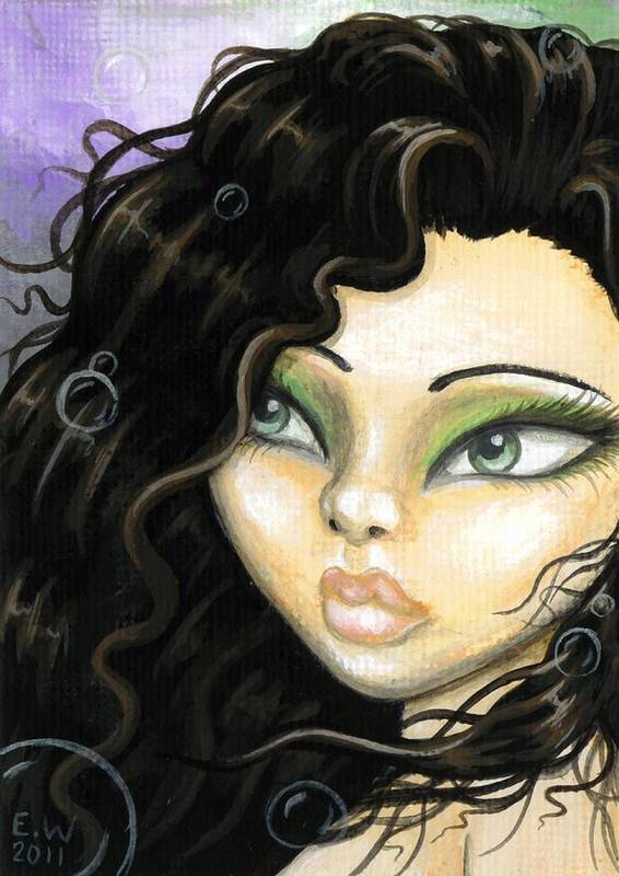 Fantasy Mermaid Poster featuring the painting Mermaid Tia by Elaina Wagner