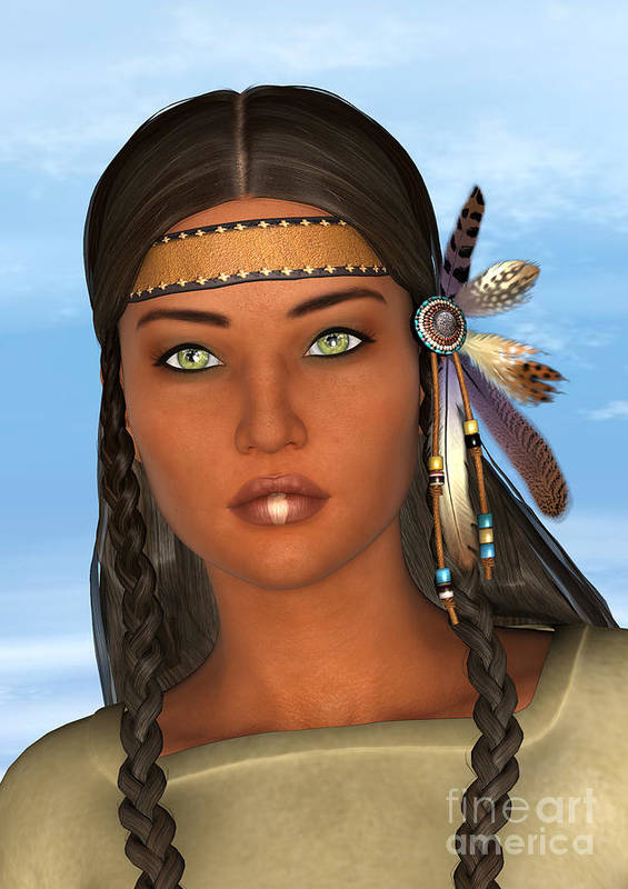 Native Poster featuring the digital art Native American Woman by Design Windmill