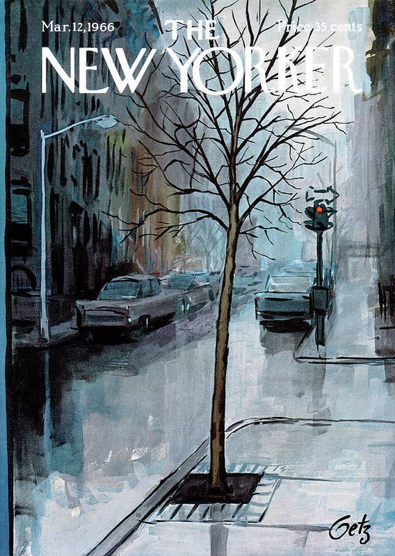 Rain Poster featuring the painting New Yorker March 12th, 1966 by Arthur Getz