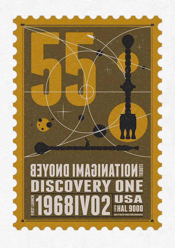 Minimal Poster featuring the digital art Starschips 55-poststamp -discovery One by Chungkong Art