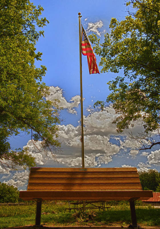 Flag Poster featuring the photograph Old Glory Bench by Bill Tiepelman