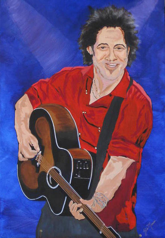 Brice Springsteen Paintings Poster featuring the painting Bruce Springsteen-an American Boy by Bill Manson