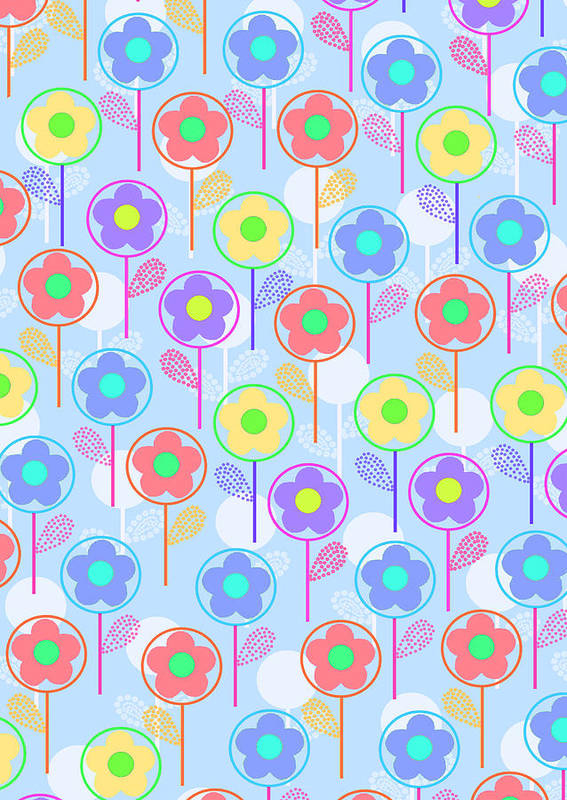 Digital Poster featuring the digital art Flowers by Louisa Knight