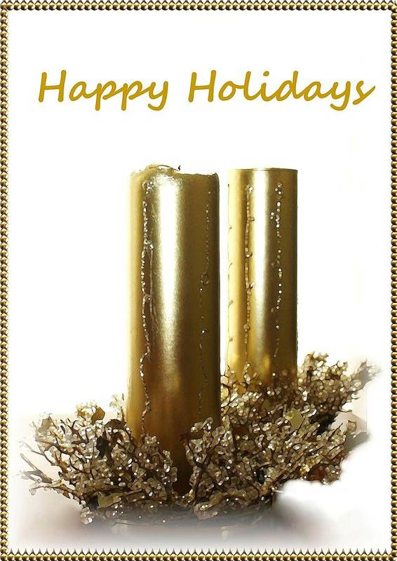 Christmas Poster featuring the photograph Golden Candles by Ellen Barron O'Reilly