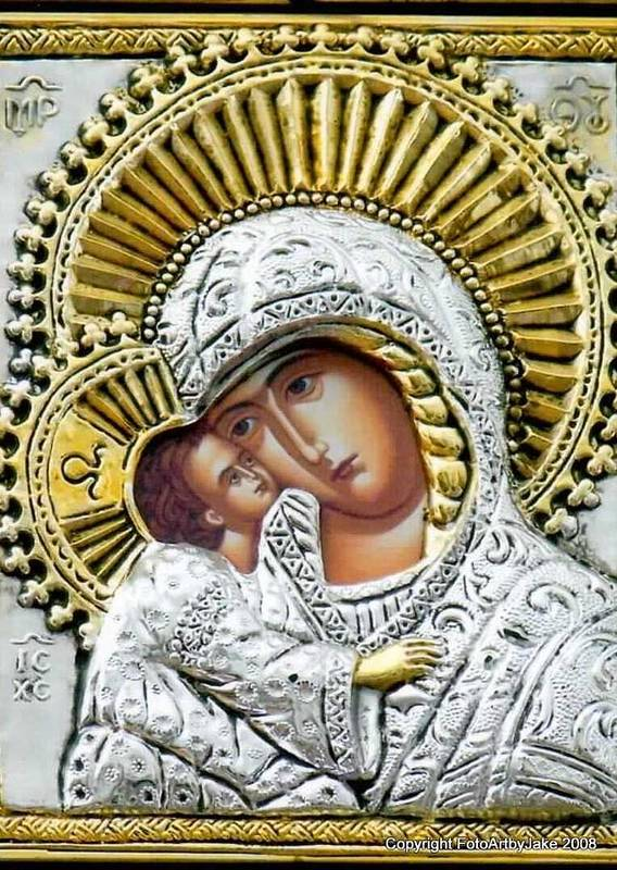 Virgin Mary Poster featuring the photograph Icon Of The Bl Virgin Mary W Christ Child by Jake Hartz
