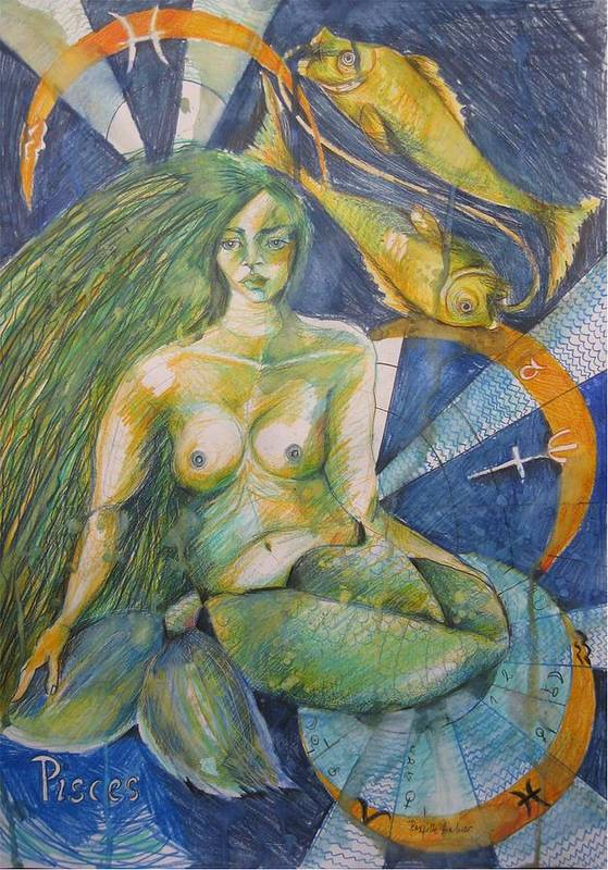 Drawing Poster featuring the drawing Pisces by Brigitte Hintner