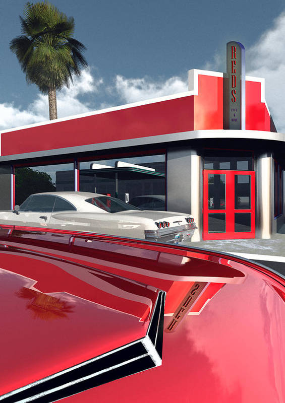 Automotive Art Poster featuring the digital art Reds Five And Dime by Richard Rizzo