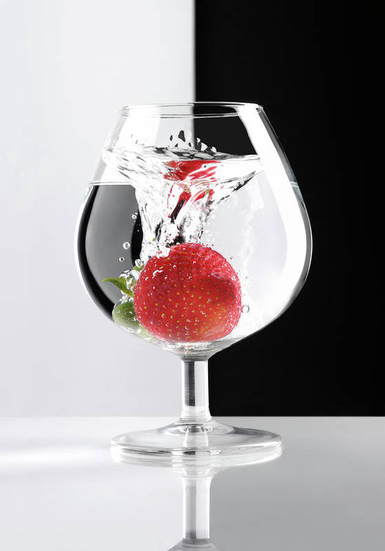 Strawberry Poster featuring the photograph Strawberry In A Glass by Oleksiy Maksymenko