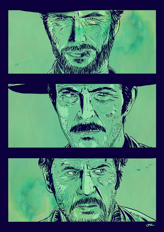 Spaghetti Western Poster featuring the drawing The Good The Bad And The Ugly by Giuseppe Cristiano