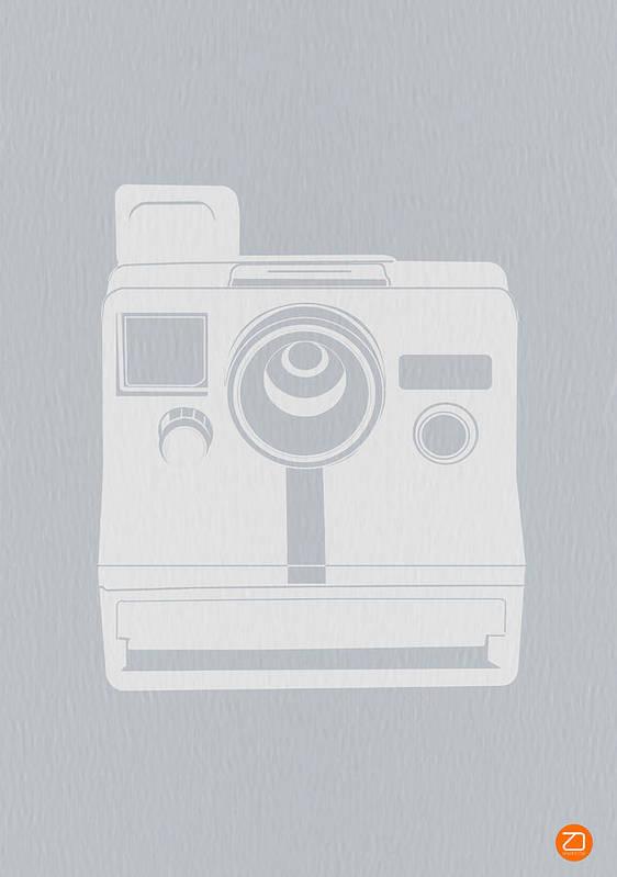Polaroid Poster featuring the photograph White Polaroid Camera by Naxart Studio
