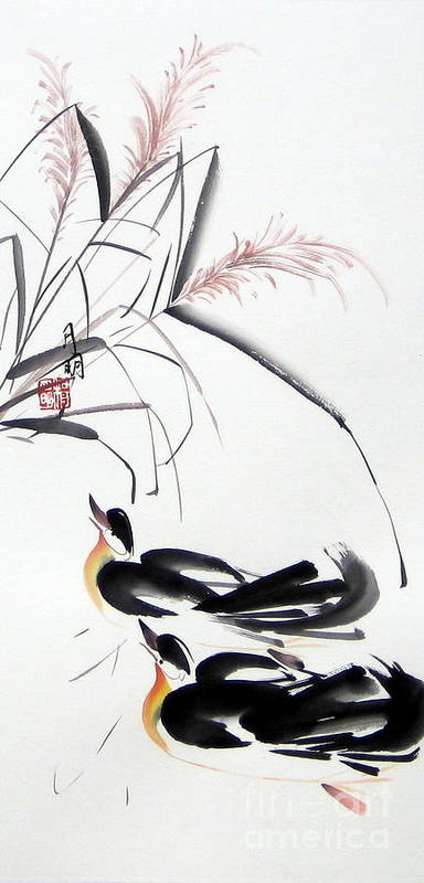 Chinese Painting Poster featuring the painting Home Coming by Ming Yeung