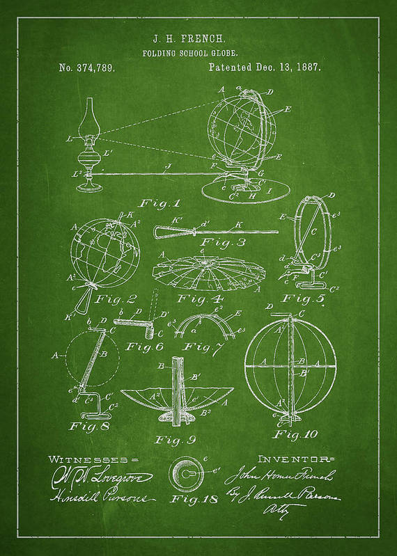 Globe Poster featuring the drawing Folding School Globe Patent Drawing From 1887 by Aged Pixel