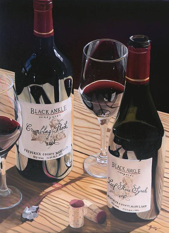Wine Art Poster featuring the painting At The Right Time by Brien Cole