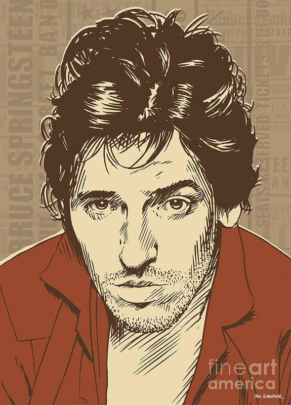 Rock N Roll Poster featuring the digital art Bruce Springsteen Pop Art by Jim Zahniser