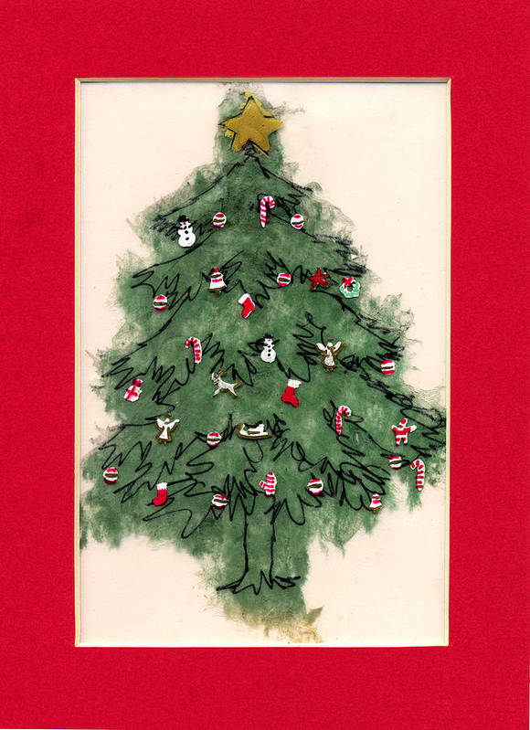 Christmas Paintings Poster featuring the painting Christmas Tree With Red Mat by Mary Helmreich