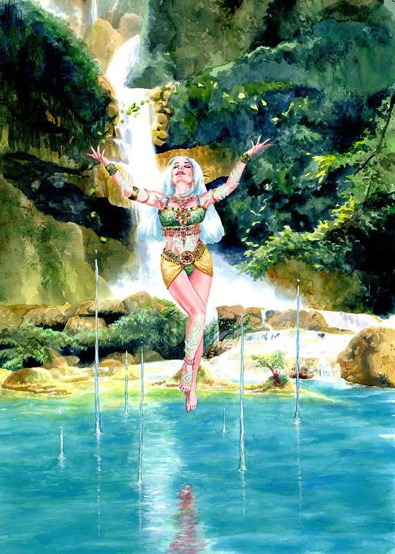 Women Poster featuring the painting Djinn by Ken Meyer jr