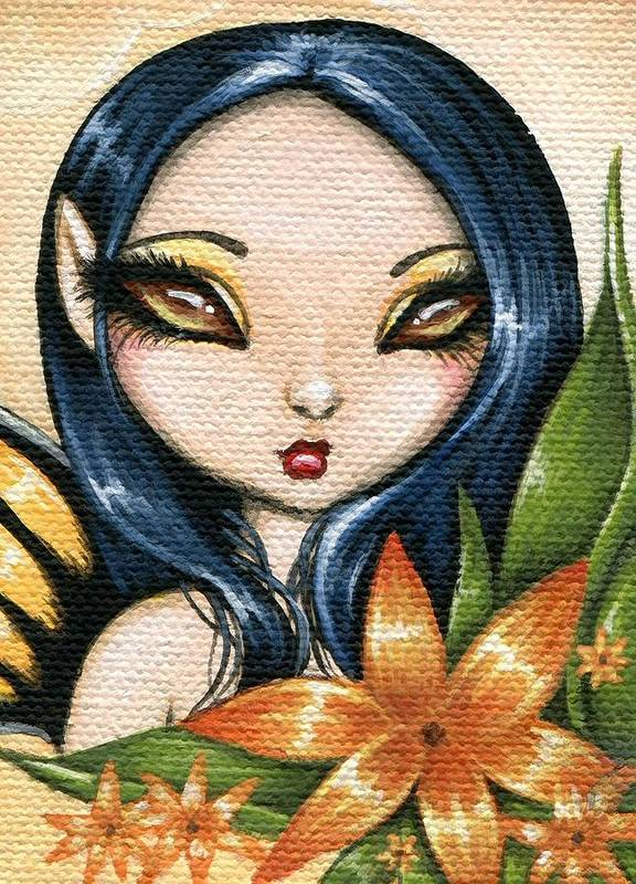 Fantasy Art Poster featuring the painting Flower Fairy Kasumi by Elaina Wagner