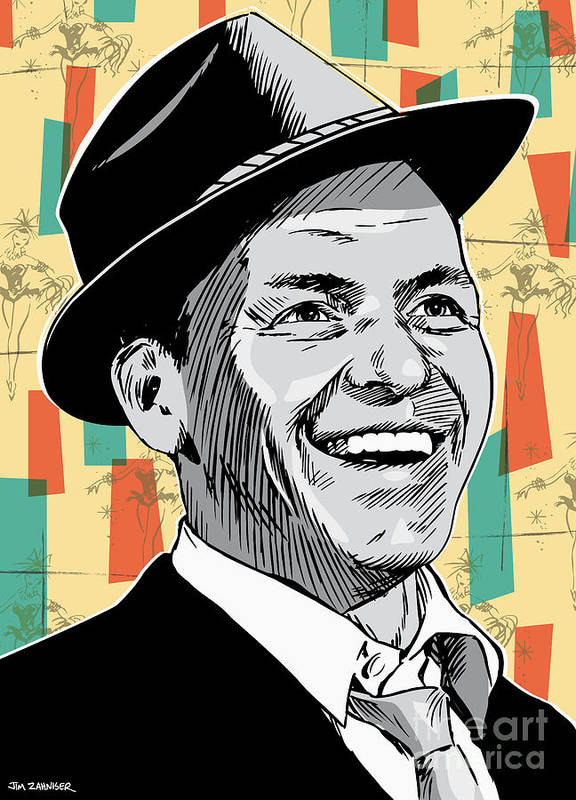Music Poster featuring the drawing Frank Sinatra Pop Art by Jim Zahniser
