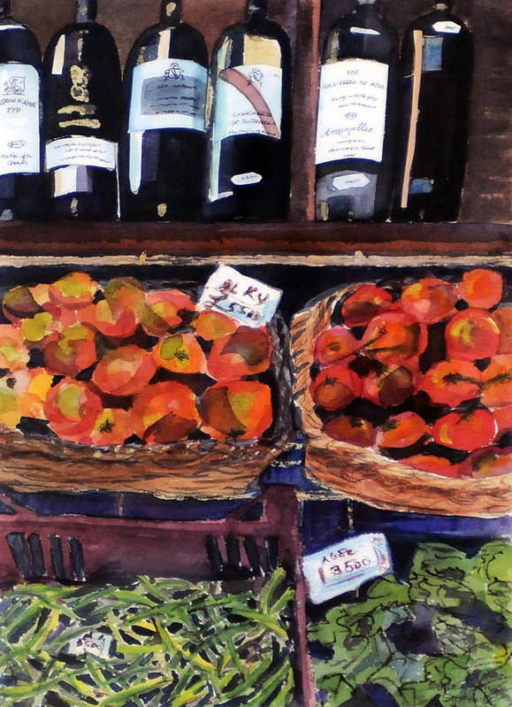Wine Poster featuring the painting Italian Market by Susie Jernigan