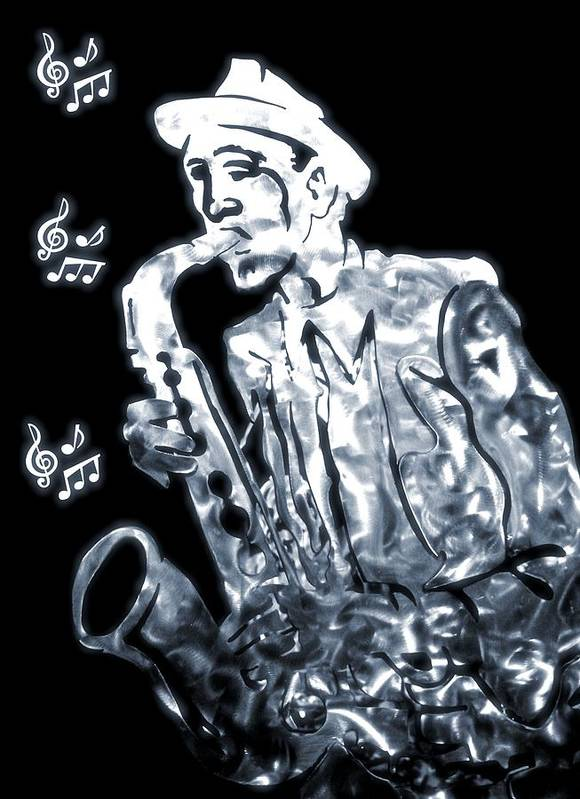 Jazz Saxophone Music Poster featuring the digital art Jazz Notes by Dan Sproul