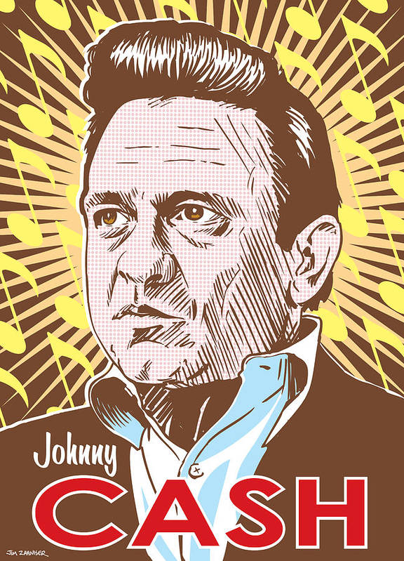 Outlaw Poster featuring the digital art Johnny Cash Pop Art by Jim Zahniser