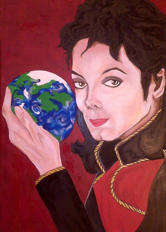 Michael Poster featuring the painting Michael's World by Lorinda Fore