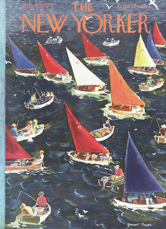 Seashore Poster featuring the painting New Yorker August 9th, 1952 by Garrett Price