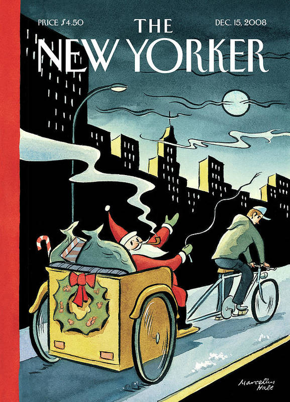 Santa Poster featuring the painting New Yorker December 15, 2008 by Marcellus Hall