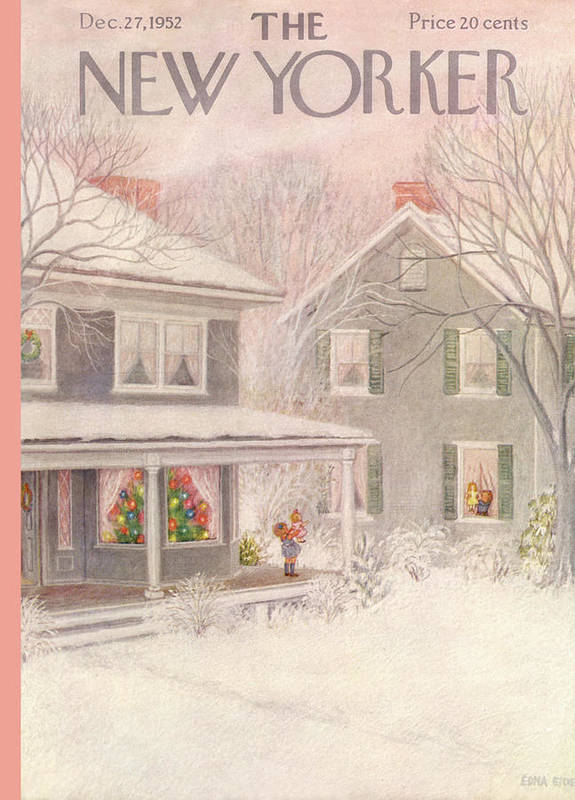 Suburb Poster featuring the painting New Yorker December 27th, 1952 by Edna Eicke