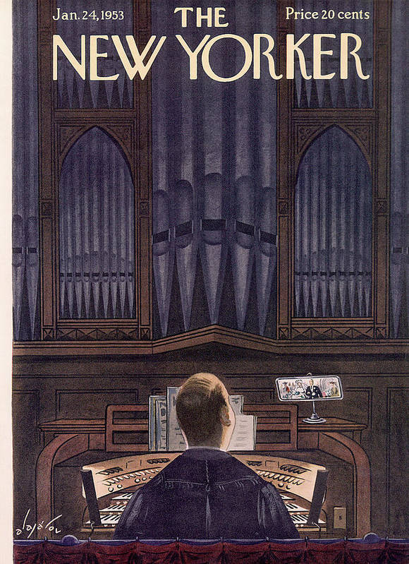 Concert Music Musical Hall Performance Entertainment Pipe Organ Church Hymn Hymnal Priest Mass Service Sunday Christian Catholic Instrument Constantine Alajalov Cal Sumnerok Artkey 49275 Poster featuring the painting New Yorker January 24th, 1953 by Constantin Alajalov