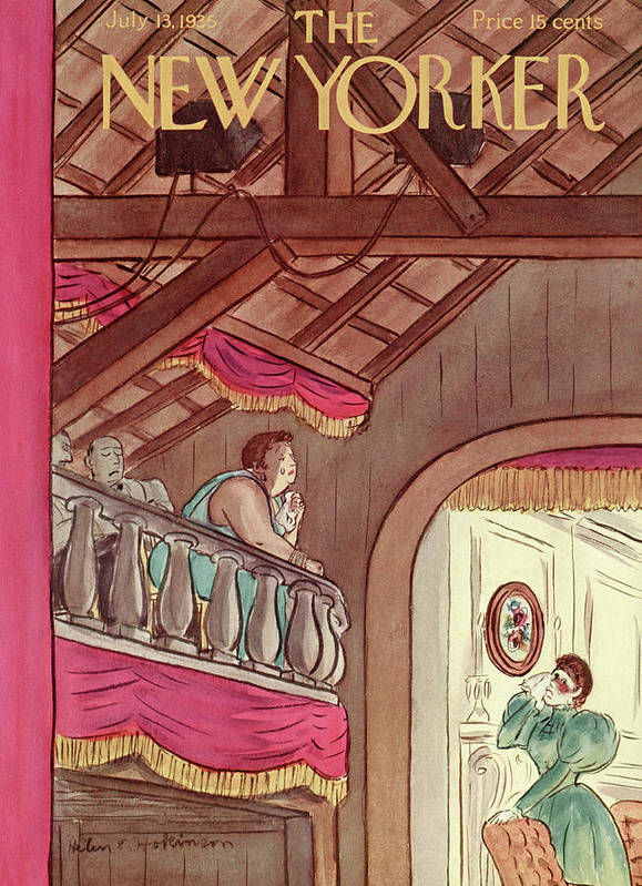 Theater Play Broadway Actor Actress Player Set Stage Playhouse Hall Entertainment Balcony Tear Tears Emotion Emotional Cry Sad Moving Touching Performance Helen E. Hokinson Hho Artkey 48459 Poster featuring the painting New Yorker July 13th, 1935 by Helen E. Hokinson