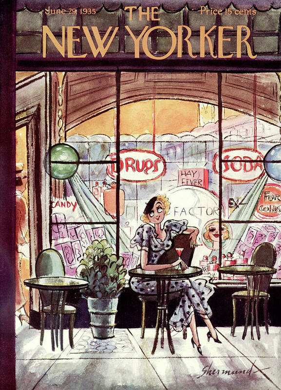 (a Woman Has A Drink And Smokes A Cigarette At A Table Outside An Old Fashioned Drug & Soda Fountain Store.) Dining Drinking Addictions Fitness Barbara Shermund Artkey 46843 Poster featuring the painting New Yorker June 29th, 1935 by Barbara Shermund
