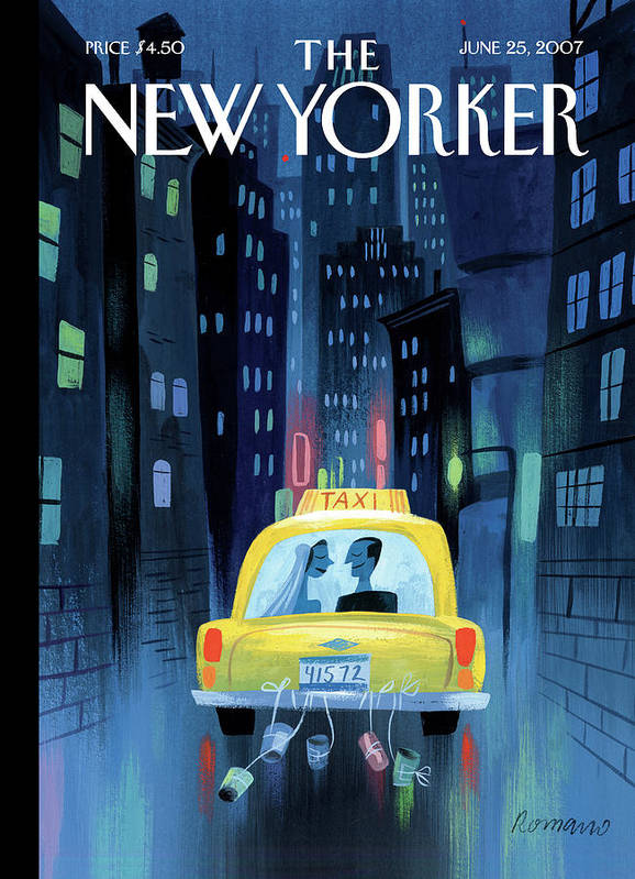 Taxi Cab Wedding Marriage Couple Cans City Urban Night Poster featuring the painting Newlywed Couple In A Taxi by Lou Romano