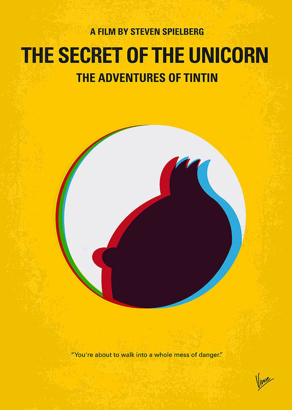 Tintin Poster featuring the digital art No096 My Tintin-3d Minimal Movie Poster by Chungkong Art