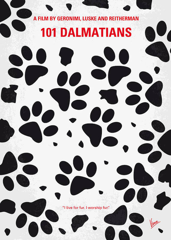 101 Poster featuring the digital art No229 My 101 Dalmatians Minimal Movie Poster by Chungkong Art
